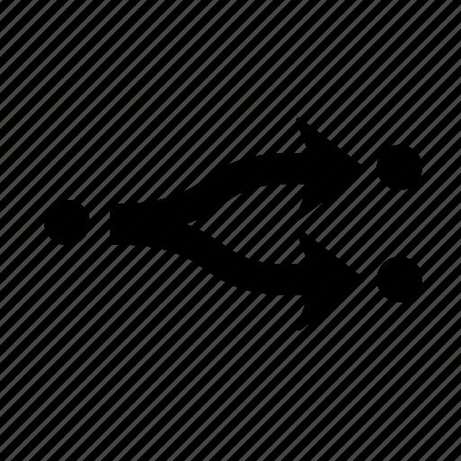 Arrow, splitright, direction, divide, section, splinter, split icon - Download on Iconfinder
