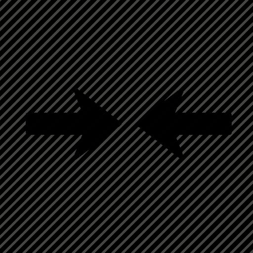 arrow, clash, collision, conflict, discord, discrepancy, inconsistency icon