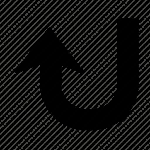 arrow, direction, turn, u turn, u-turn, up, upload icon