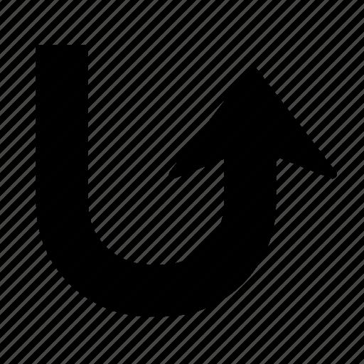 arrow, back, direction, turn, u turn, u-turn, up icon