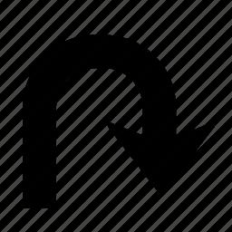 arrow, direction, right, turn, u turn, u-turn icon