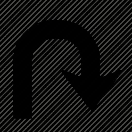 Arrow, right, u turn, direction, turn, u-turn icon - Download on Iconfinder