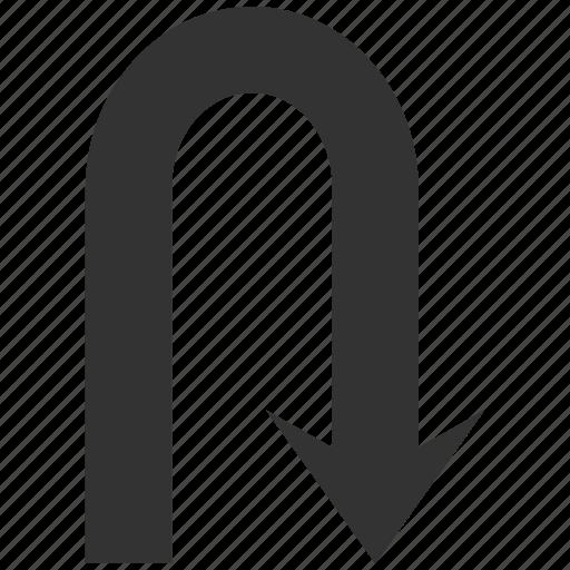 arrow, back, backward, direction, navigation, turning, u turn icon
