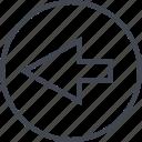 arrow, direction, left, point, pointer, rewind icon