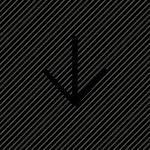 arrow, down, line icon