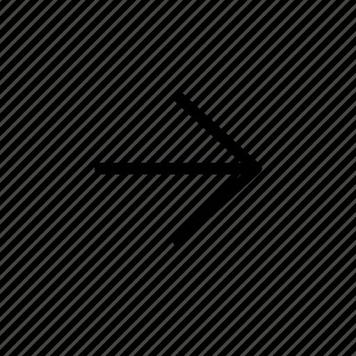 arrow, line, right icon