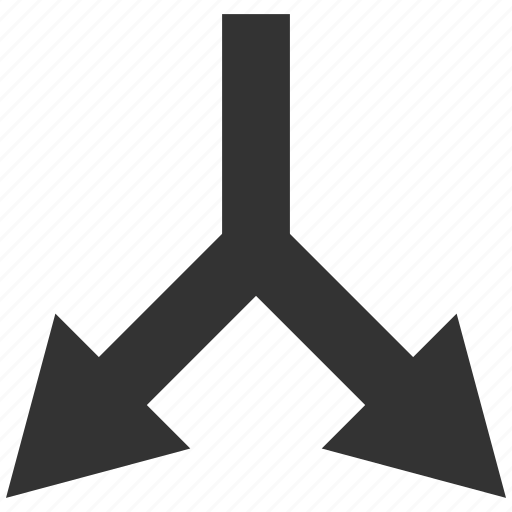 arrow, bifurcation, choice, direction, divide, down, split icon