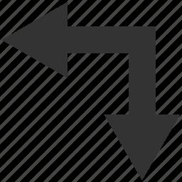 bifurcation, choice, direction, divide, down, left, split arrow icon
