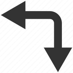 bifurcation, choice, direction, divide, down, left, split arrow icon