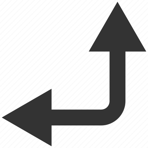 bifurcation, choice, direction, divide, left, split arrow, up icon