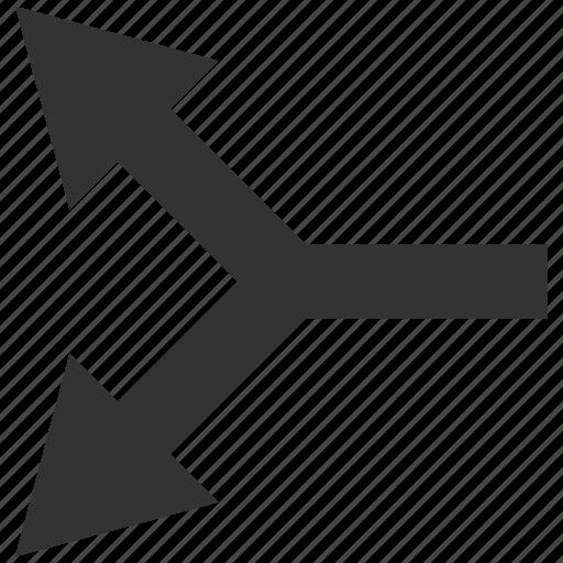 bifurcation, choice, connection, direction, divide, left, split arrow icon