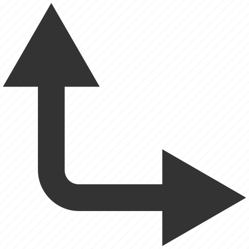 bifurcation, choice, direction, divide, right, split arrow, up icon
