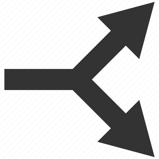 bifurcation, choice, connection, direction, divide, right, split arrow icon