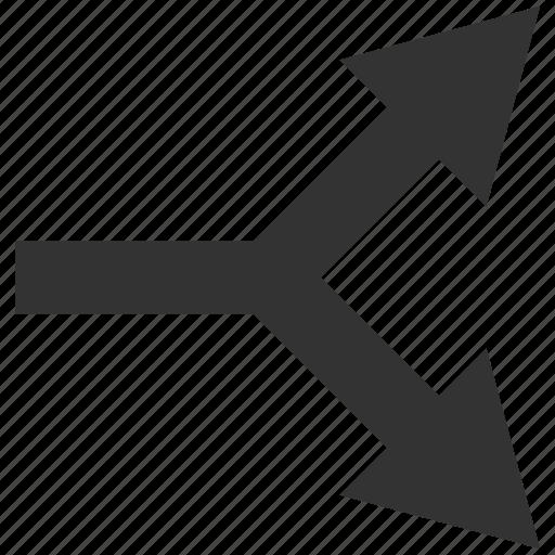 bifurcation, choice, connection, direction, divide, right, split arrow icon