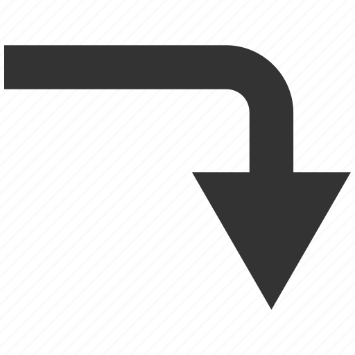 arrow, back, backward, direction, down, navigation, turn icon
