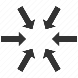 arrows, collapse, compact, compress, meeting point, press, resize icon