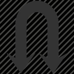 arrow, back, backward, double, navigation, previous, return icon