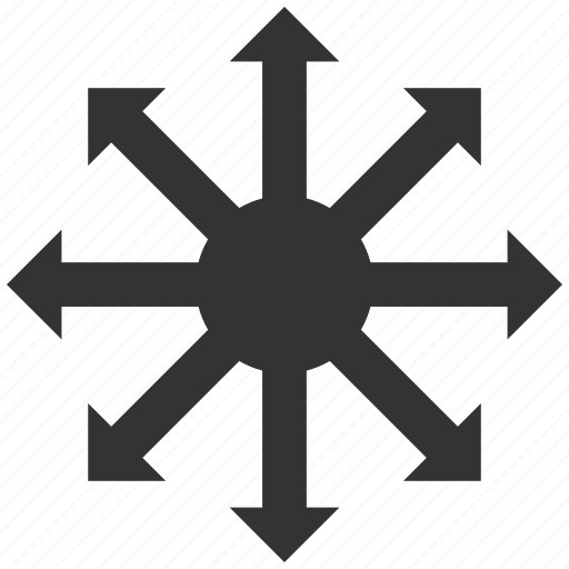 direction, expand, explode, radial arrows, radiation, rays, source icon