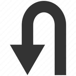 arrow, back, backward, direction, navigation, turning, u turn icon