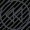 arrow, direction, point, pointer, rewind icon