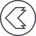 arrow, direction, left, point, pointer, thick icon