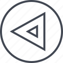 arrow, direction, left, point, pointing, triangle icon