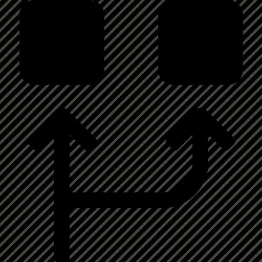 activity, arrows, division, motion, process, routes, squares icon