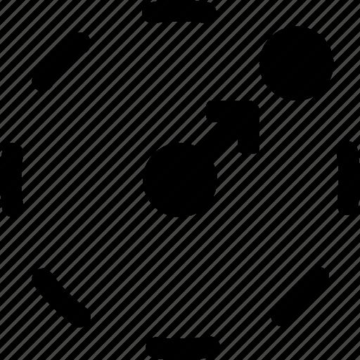 center, circle, item, motion, move, orbit, route icon