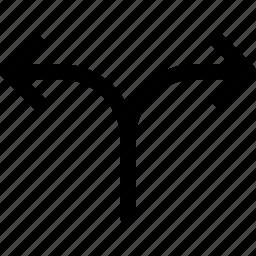 alternate, crossroads, diverge, division, motion, process, route icon