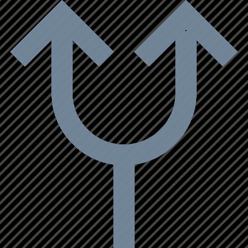 arrows, line, split, traffic, two icon