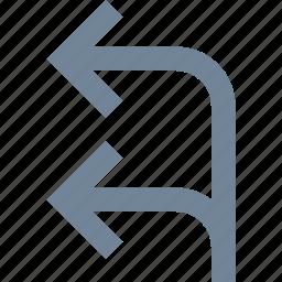 arrows, left, line, way icon