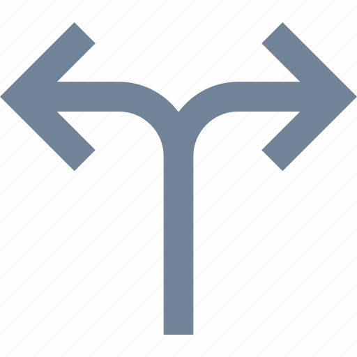 arrows, direction, divide, line, traffic icon