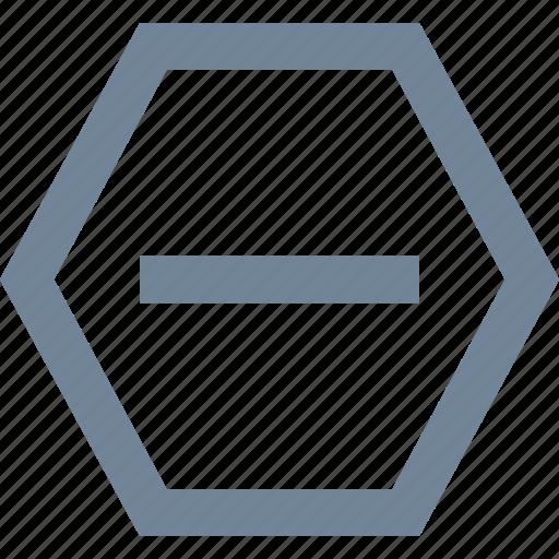 hexagon, line, no entry, stop icon