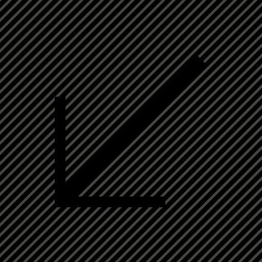 arrow, diagonal, direction, down, left, move icon