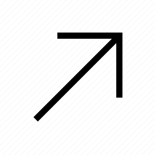 arrow, diagonal, direction, move, right, up icon