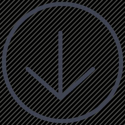 arrow, arrows, direction, down, round icon