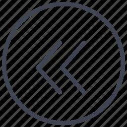 arrow, arrows, direction, double, left, pointer, round icon