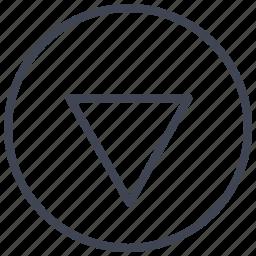 arrow, direction, down, pointer, round icon