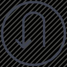 arrow, arrows, direction, turn, u icon