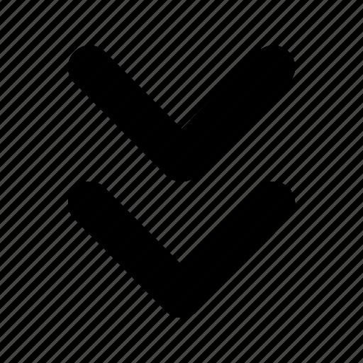 arrow, bottom, double, tiny icon