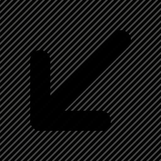 arrow, bottom, left, tiny icon