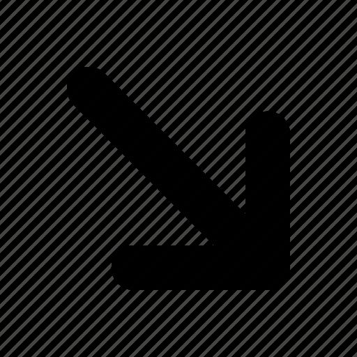 arrow, bottom, right, tiny icon