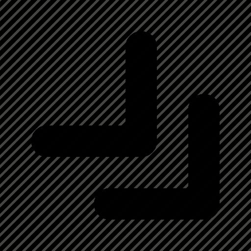 arrow, bottom, double, right, tiny icon