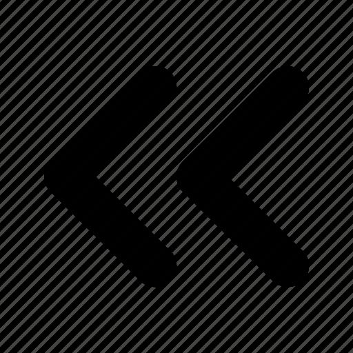 arrow, double, left, tiny icon
