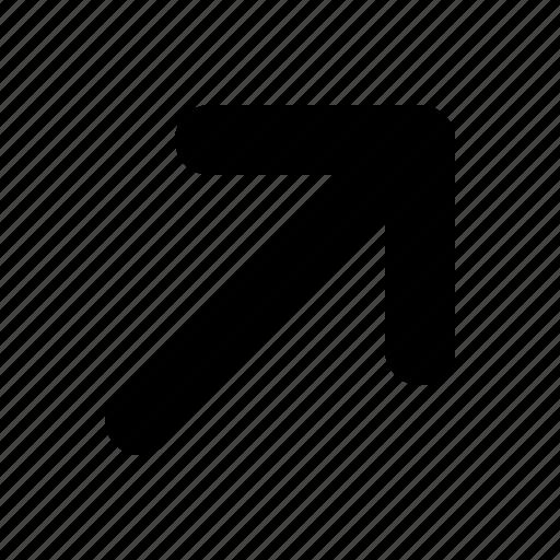 arrow, right, tiny, top icon