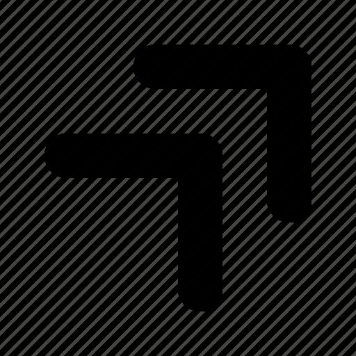 arrow, double, right, tiny, top icon