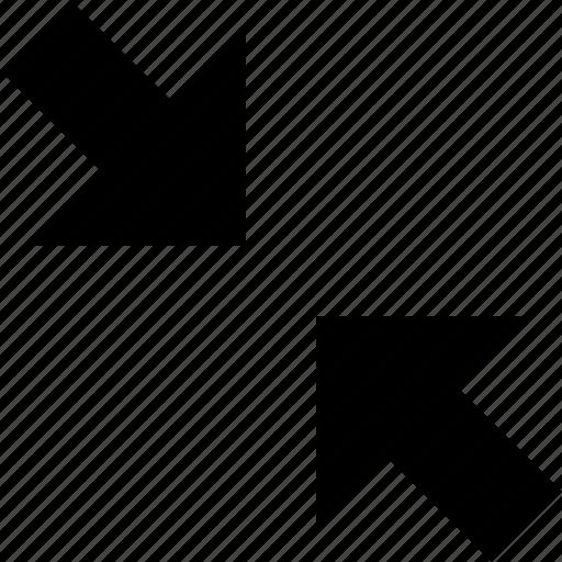 arrows, collapse, diagonal, tiny icon