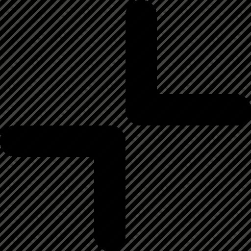 arrows, collapse, diagonal, in, tiny icon