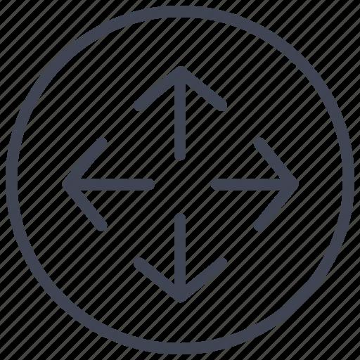 area, arrow, arrows, circle, round, space icon
