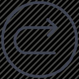 arrow, arrows, direction, right, turn, u icon